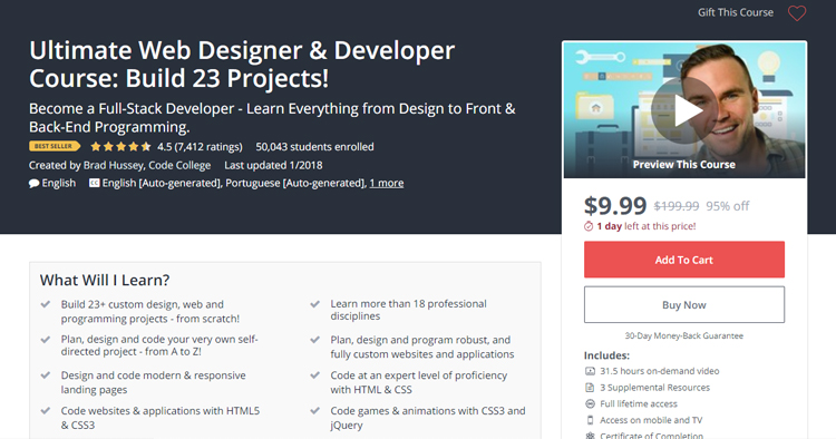 Ultimate Web Designer & Developer Course: Build 23 Projects!
